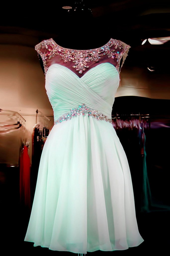 Cap Sleeves Simple Mint Green High Low Homecoming Dresses K45