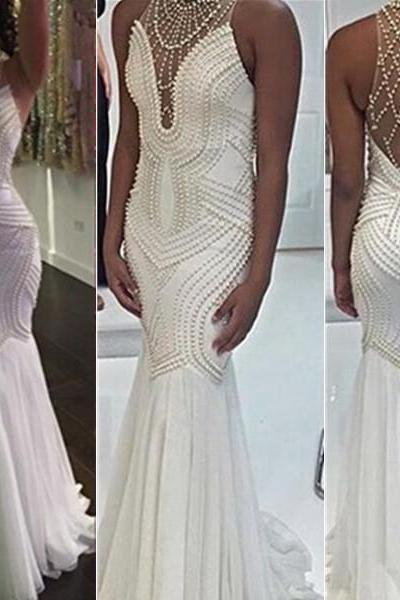 Sleeveless High Neck Beading Zipper Floor-Length Mermaid Cocktail Dress Outlet