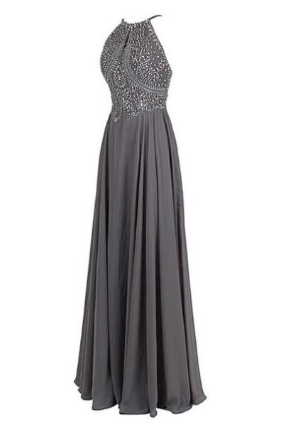 Beaded Embellished Halter Neck Floor length Chiffon A-Line Formal Dress Featuring Open Back, Prom Dress