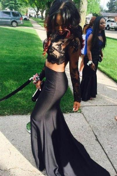 Lace Prom Dress,Long Prom Dresses,2 piece Prom Dresses,Evening Dress Prom Gowns,Women 2 pieces prom dress