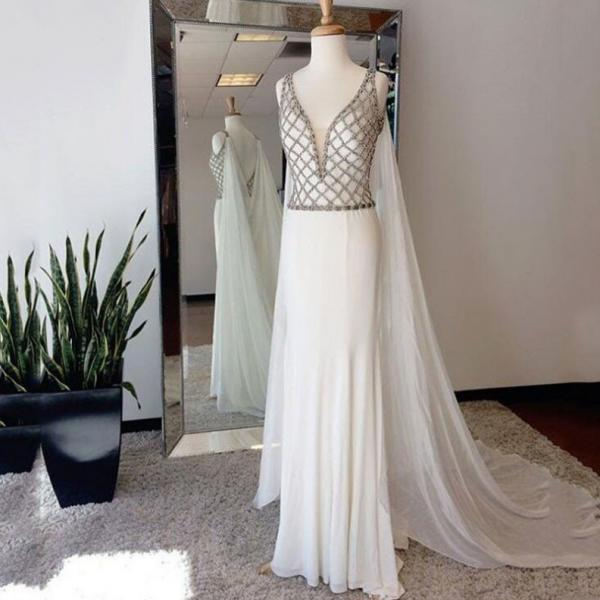 Elegant Beaded White Floor Length Open Back Flowing Chiffon Deep V neck Women Evening Dress Long With Long Cape Evening Dresses