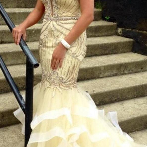 Beige Mermaid Beaded Strapless Long Pretty Prom Dresses For Teens K707